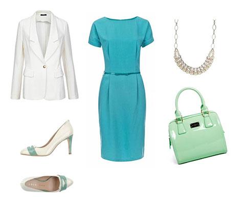 платье+белый жакет