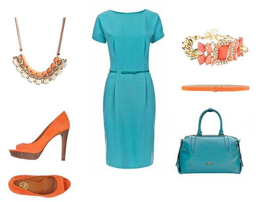 Платье+яркие аксессуары