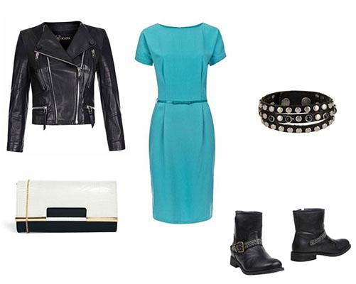 Платье+черная кожаная куртка