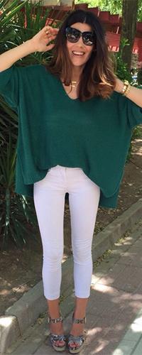 Белые джинсовые капри