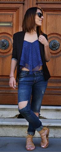 Рваные джинсы ссандалями