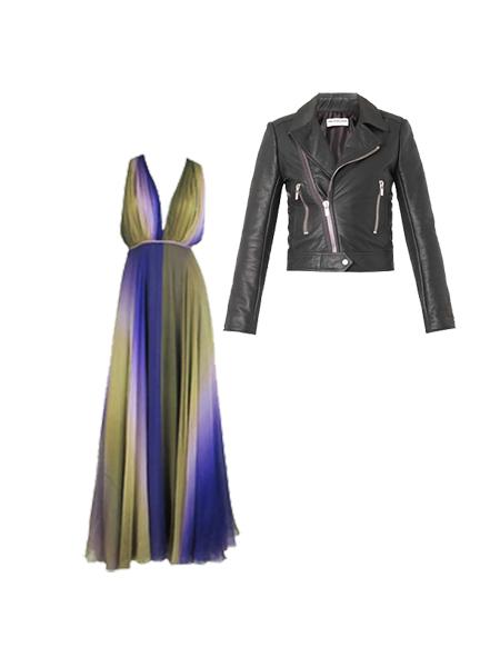 Кожаная куртка с платьем макси