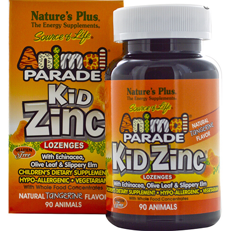 Nature's Plus, Source of Life, Animal Parade, Kid Zinc Lozenges, Natural Tangerine Flavor