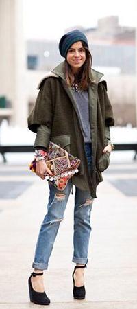 Танкетка и джинсы бойфренды