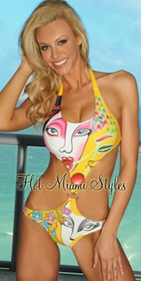 Yellow Two Face Cherry Padded Monokini