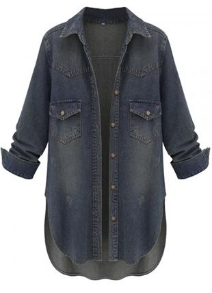 Темная джинсовая рубашка
